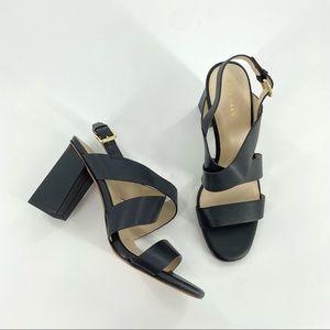 Cole Haan Cynthia Black Leather Block Heel Sandals